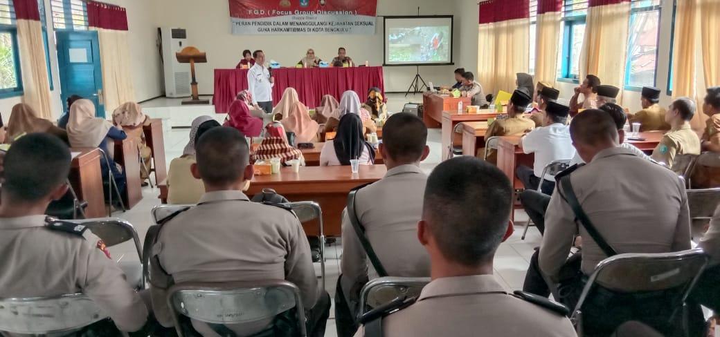 FGD di Dinas Pendidikan, Sat Binmas Hadirkan Narasumber dari BNN dan Unit PPA Polres Bengkulu