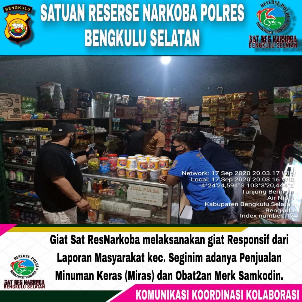 Sat Narkoba Polres Bengkulu Selatan Amankan Penjual Miras dan Obat Terlarang