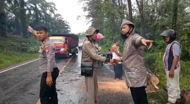 Polsek Putri Hijau Dibantu Warga, Singkirkan Pohon Tumbang Akibatkan Jalur Bengkulu-Sumbar Macet