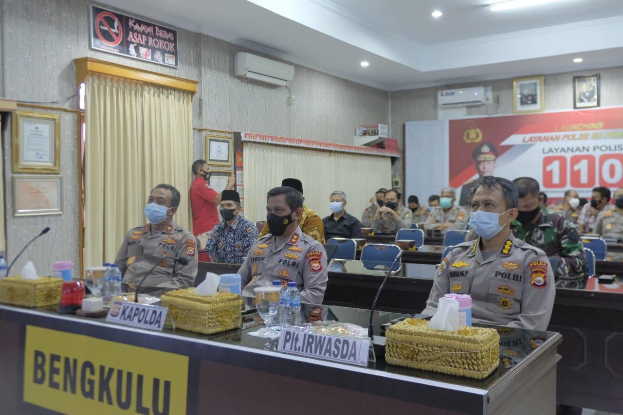 Kapolda Bengkulu Ikuti Launching Layanan Polisi 110 Secara Virtual