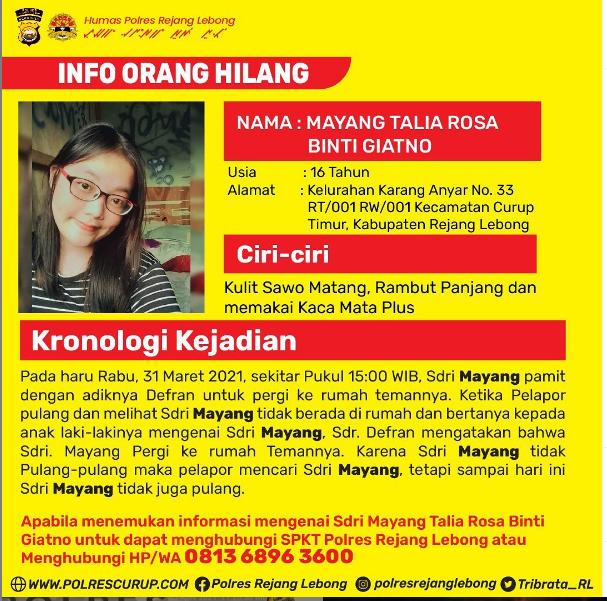 Pamit Kerumah Teman, Remaja Putri Kabupaten RL Hilang Seminggu Terakhir