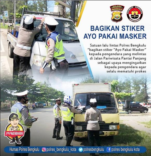 "Tingkatkan Kesadaran Prokes, Polres Bengkulu Bagikan Stiker Imbauan ""Ayo Pakai Masker"""