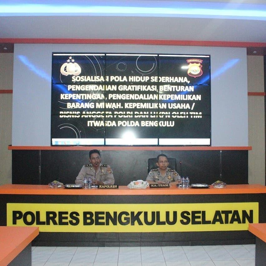Itwasda Polda Bengkulu Sosialisasi Pola Hidup Sederhana di Polres BS