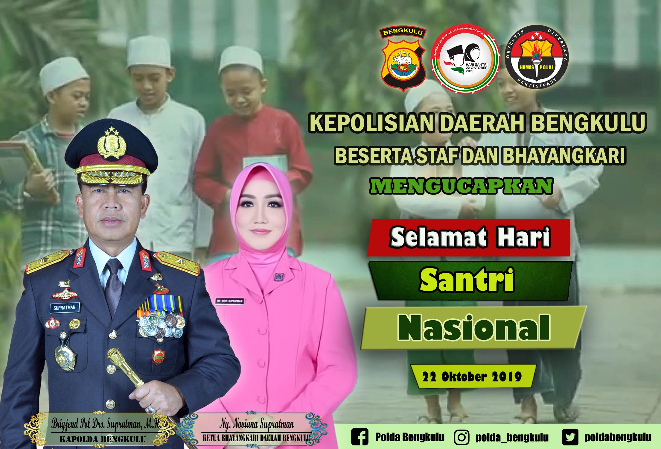 Kapolda Bengkulu Mengucapkan Selamat Hari Santri Nasional Tahun 2019